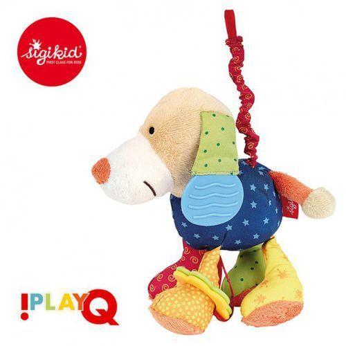 przytulanka aktywizująca pies z gryzakiem, wibracją i szeleszczącą folią 6m+ playq marki Sigikid