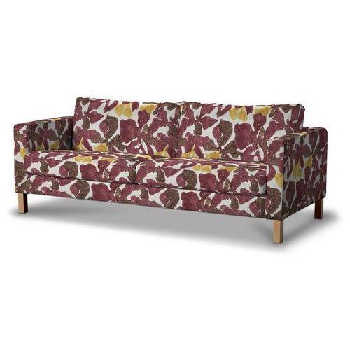 Dekoria Pokrowiec na sofę Karlstad rozkładaną, krótki, żółto-brązowe kwiaty, Sofa Karlstad 3-os rozkładana, Wyprzedaż do -30%