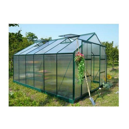 Szklarnia ogrodowa z poliwęglanu o pow. 13 m² kalida z podstawą - zielona marki Vente-unique.pl