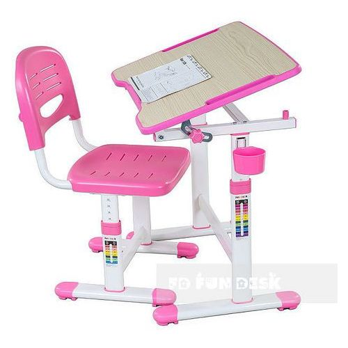 Piccolino ii pink - ergonomiczne, regulowane biurko dziecięce + krzesełko marki Fundesk