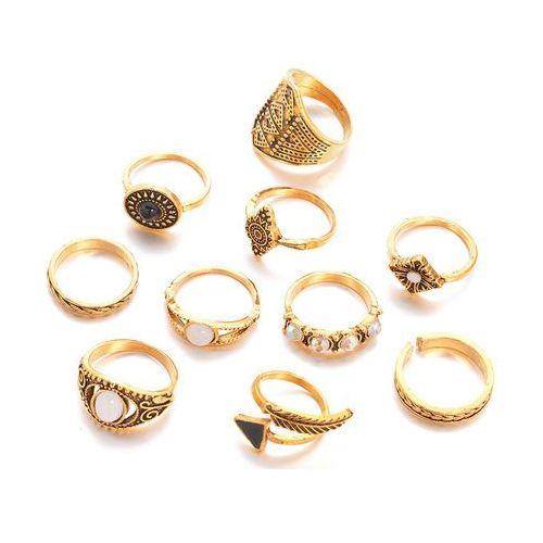 Cloe Pierścionek zestaw 10 elementów złoto antyczne - złoto antyczne