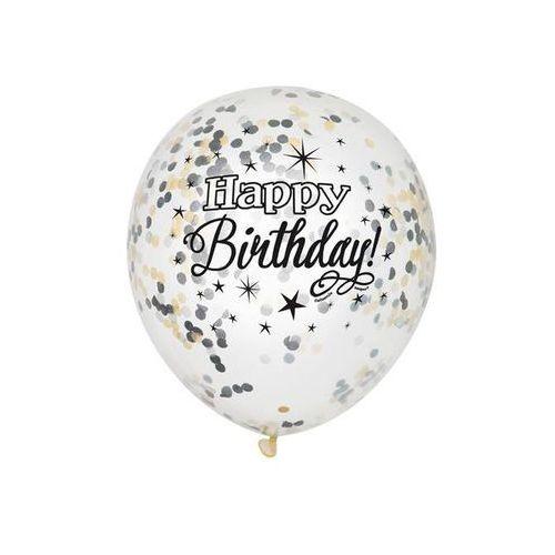 Unique Balony przezroczyste z nadrukiem oraz konfetti w środku - 30 cm - 6 szt. (0011179582853)
