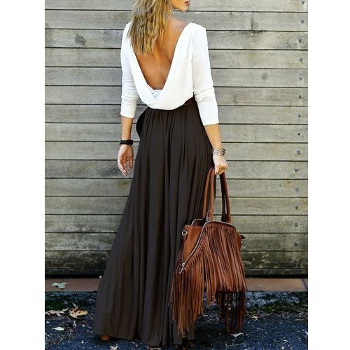 Long Sleeve Maxi Draped Open Back Dress