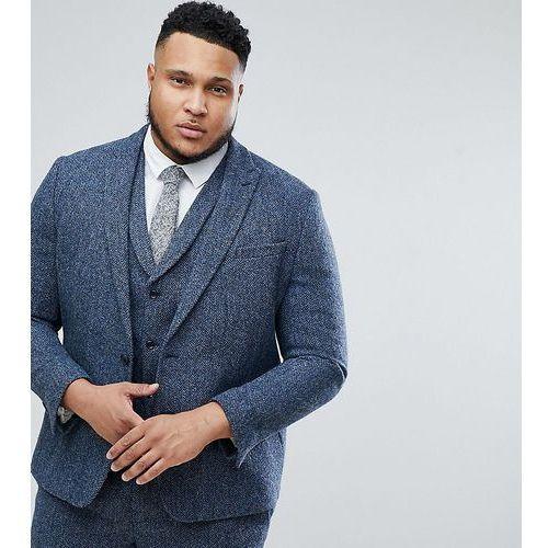 Asos plus slim suit jacket in 100% wool harris tweed in blue mini check - blue marki Asos design