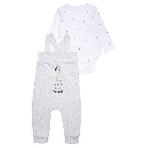 mothercare NEW SHAPE DUNGAREE BABY SET Body grey marl, kolor szary