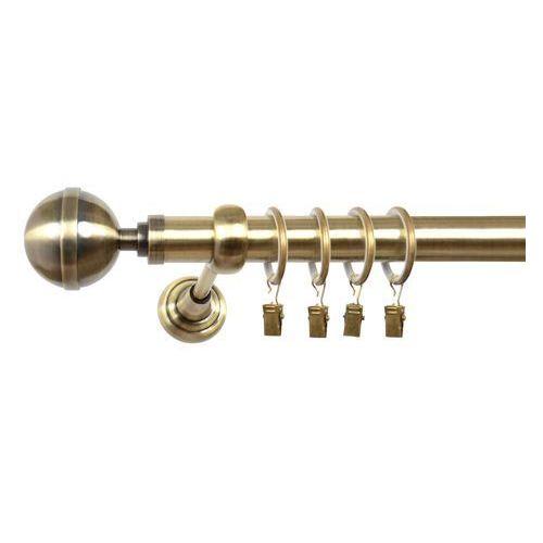Karnisz pojedynczy ela Ø25mm kula elegant: dlugosc karniszy - 140 cm, rodzaj - metalowy, typ karnisza - pojedynczy, kolor karnisza - antyczny mosiądz, mocowanie - ścienne, rozmiar drążka - 25mm marki Karnisze24