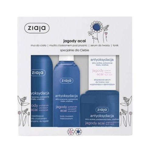jagody acai antyoksydacja zestaw dla kobiet (mus do ciala + mydło + serum + tonik) marki Ziaja