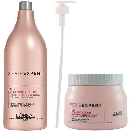 vitamino color a-ox zestaw do włosów farbowanych: szampon 1500 ml + maska 500 ml + pompka w prezencie! marki Loreal