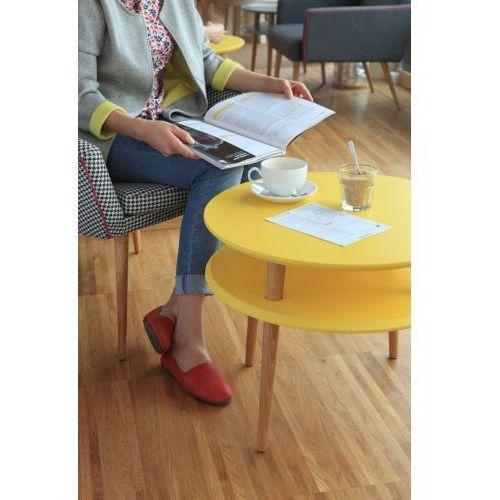Stolik kawowy styl skandynawski ufo średni - kolor żółty/ kolor nóg naturalny buk marki Ragaba