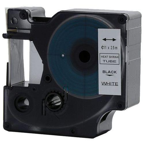 Rurka (koszulka) termokurczliwa zamiennik do Dymo, średnica 11mm, szer. wydruku 19mm, dł. 2.5m, biała czarny nadruk RS11W