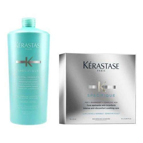 Kérastase Kerastase dermo-calm and specifique intense | zestaw kojący: kąpiel 1000ml + kuracja łagodząca podrażnienia skóry głowy 12x6ml