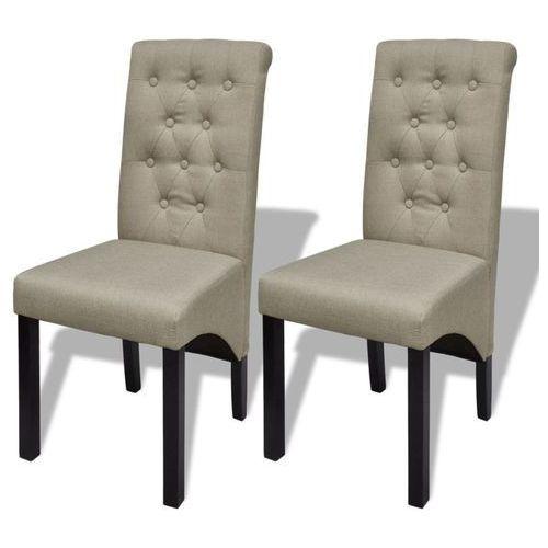 Krzesła do jadalni tapicerowane tkaniną, beżowe, 2 szt.