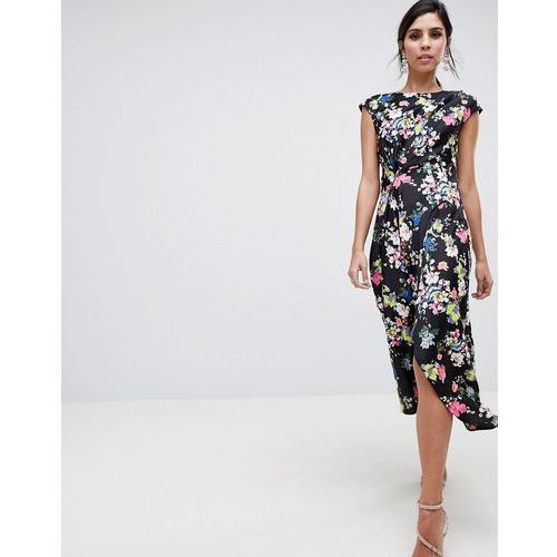 design drape midi dress in dark floral - multi marki Asos
