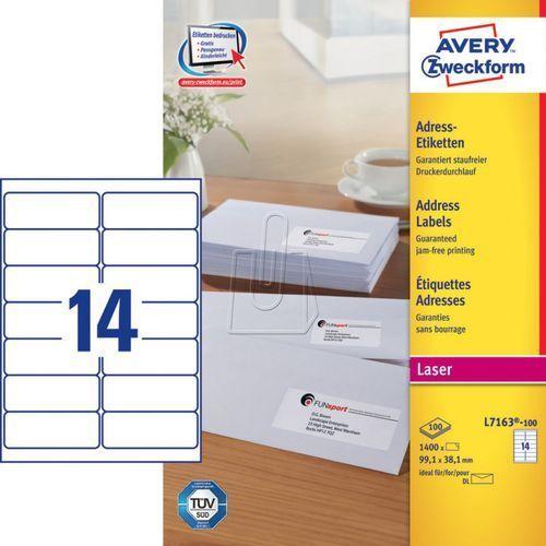 Avery zweckform Etykiety adresowe do drukarek laserowych białe 99,1mm x 38,1mm 100 arkuszy avery (5701044461035)