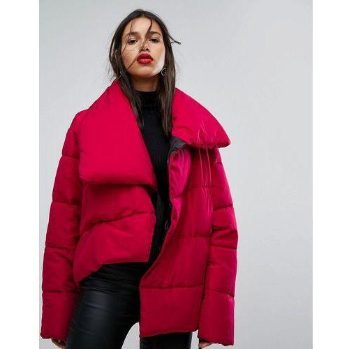 Mango padded oversized collar jacket - pink