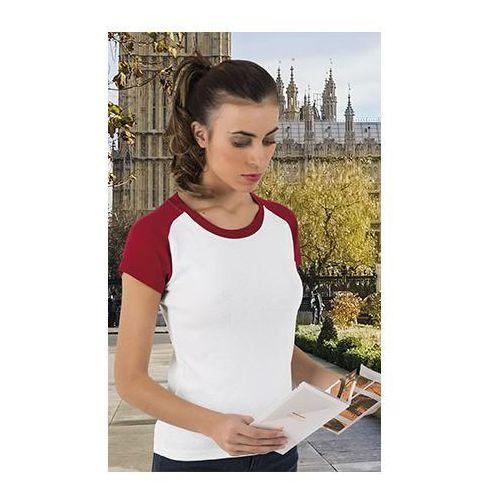 Valento T-shirt koszulka damska dwukolorowa london l bialy-czerwony