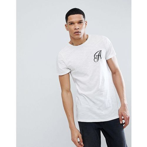 long line curved hem stretch logo t-shirt - white marki Another influence