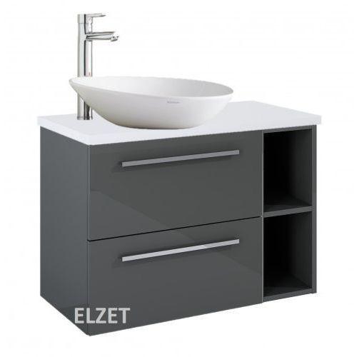 szafka kwadro plus 2s anthracite pod umywalkę nablatową + moduł otwarty + blat 80 white 166770.166775.166866 marki Elita