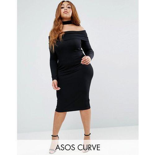 ASOS CURVE Long Sleeve Midi Bardot Bodycon Dress - Black