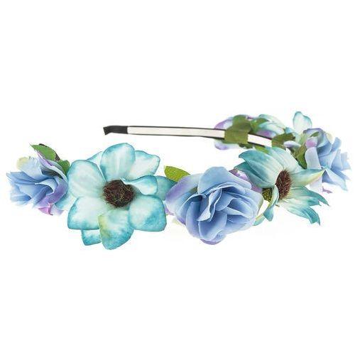 Opaska sztywna kwiaty odcienie błękitu - odcienie błękitu