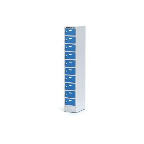 Metalowa szafka ubraniowa 10-drzwiowa na cokole, drzwi niebieske, zamek obrotowy