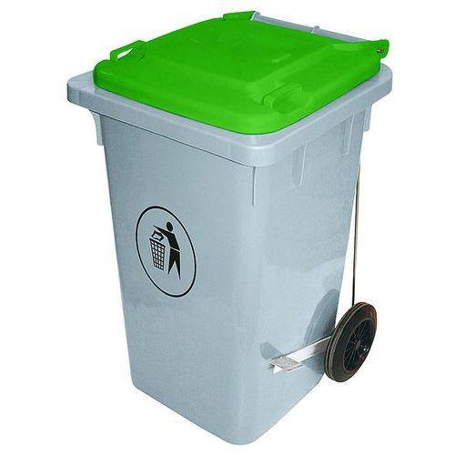 Kosz na śmieci na kółkach, szary z niebieską pokrywą | CONTACTO, 3053/106