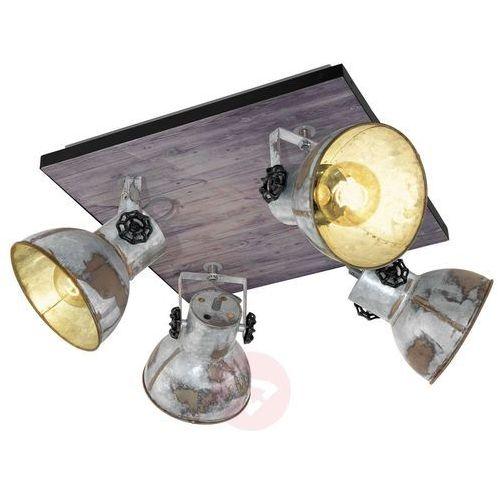 Plafon Eglo Barnstaple 49653 lampa sufitowa oprawa spot 4x40W E27 czarny / brązowa patyna (9002759496531)