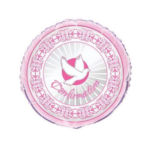 Balony foliowy gołąbek na i komunię święta - różowy - 46 cm - 1 szt. marki Unique