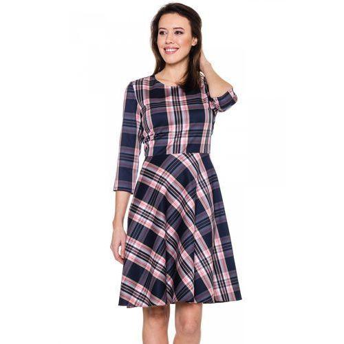 Rozkloszowana sukienka w kratkę - Bialcon, rozkloszowana