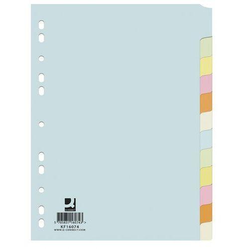 Przekładki kartonowe Q-Connect 12 kart kolorowe, 67423