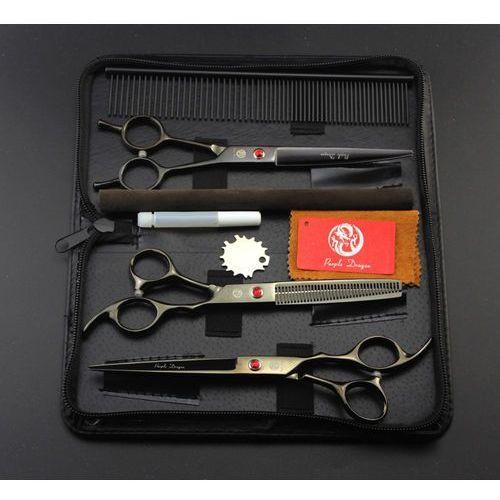 Nożyczki fryzjerskie groomerskie 3 sztuki black 7,0 + stalowy grzebień ze4-gr marki Purple dragon