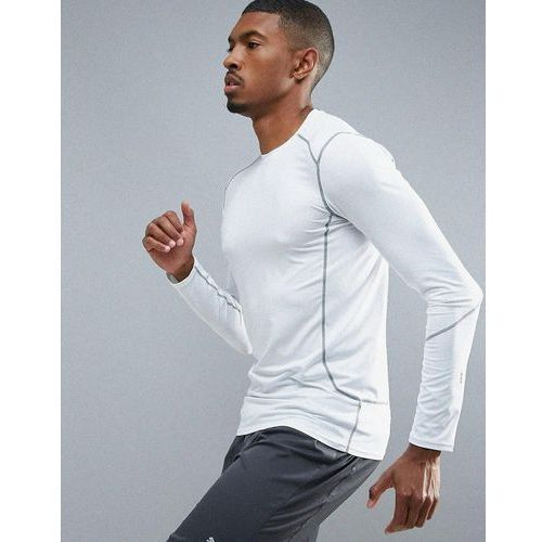 sport stretch long sleeve running top in white - white, New look