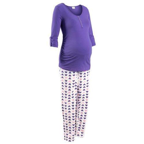 Piżama do karmienia piersią (2 części) lila-biały z nadrukiem marki Bonprix