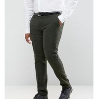 Gianni Feraud PLUS Slim Fit Green Donnegal Wool Blend Suit Trousers - Green, kolor zielony