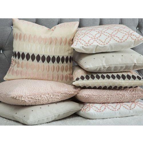 Beliani Poduszka dekoracyjna wzorzysta bawełniana biała/różowa (4260624112299)