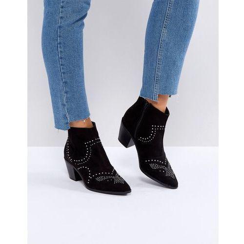 New look studded western block heel ankle boot - black
