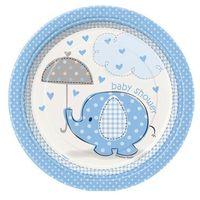 Unique Talerzyki na baby shower słonik z parasolem dla chłopca - 23 cm - 8 szt.