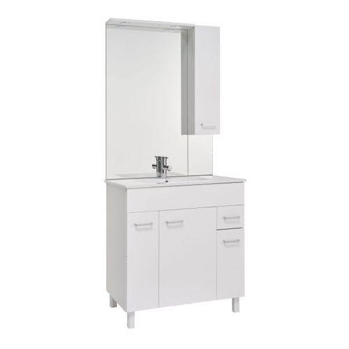 Zestaw szafka z umywalką Deftrans Tosca 80 cm z szafką wiszącą i lustrem LED biały, 034-Z-08011+1724