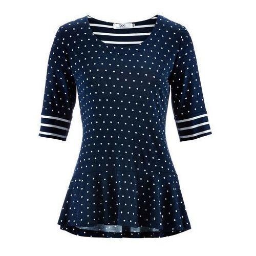 Bonprix Shirt z baskinką i krótkim rękawem ciemnoniebieski w groszki