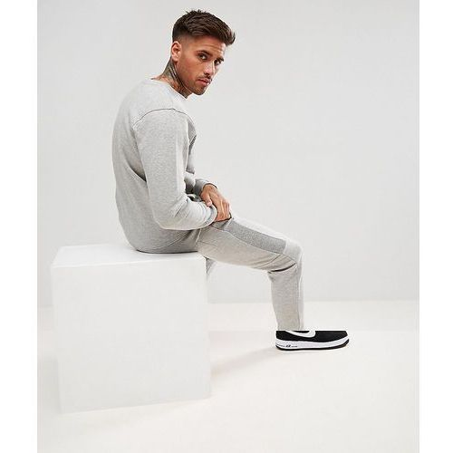 boohooMAN Skinny Tracksuit With Contrast Panels In Grey - Grey