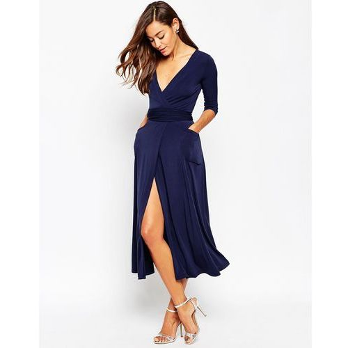 crepe wrap midi dress - navy marki Asos