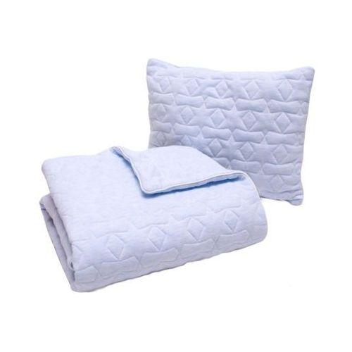 Pulp bawełniany kocyk z wypełnieniem 80x100cm + poduszka 35x45cm pikowane gwiazdki błękitny