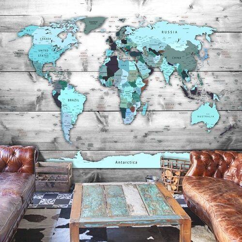 Artgeist Fototapeta - mapa świata: błękitne kontynenty