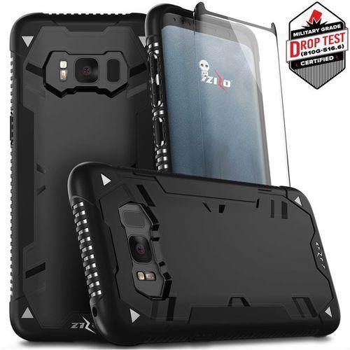 Zizo Proton Case Etui Pancerne Samsung Galaxy S8+ Plus (Black/Black) + Szkło Hartowane Na Ekran, kolor czarny