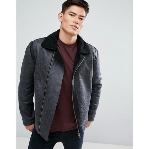 D-Struct Biker Faux Leather Jacket with Borg Collar - Black