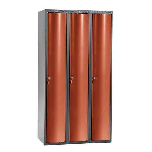 Szafa szatniowa curve, 3 moduły, 3 drzwi, 1740x900x550 mm, czerwony marki Aj produkty