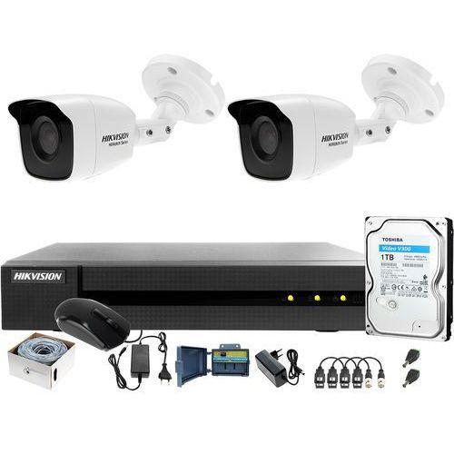 Zestaw monitoringu po skrętce utp full hd hwd-6104mh-g2 2 x hwt-b120-m 1tb samodzielny montaż marki Hikvision hiwatch