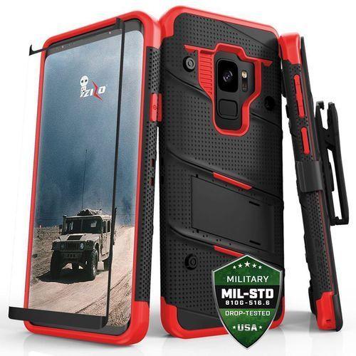 bolt cover etui pancerne samsung galaxy s9 (black/red) + szkło hartowane na ekran marki Zizo