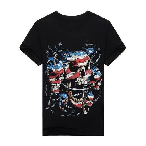 3D Stripe and Star Skulls Print Round Neck Short Sleeve T-Shirt