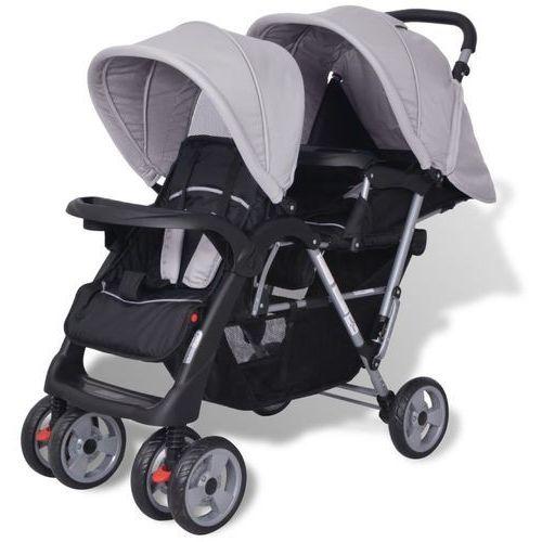 Vidaxl wózek spacerowy dla bliźniaków tandem szary i czarny